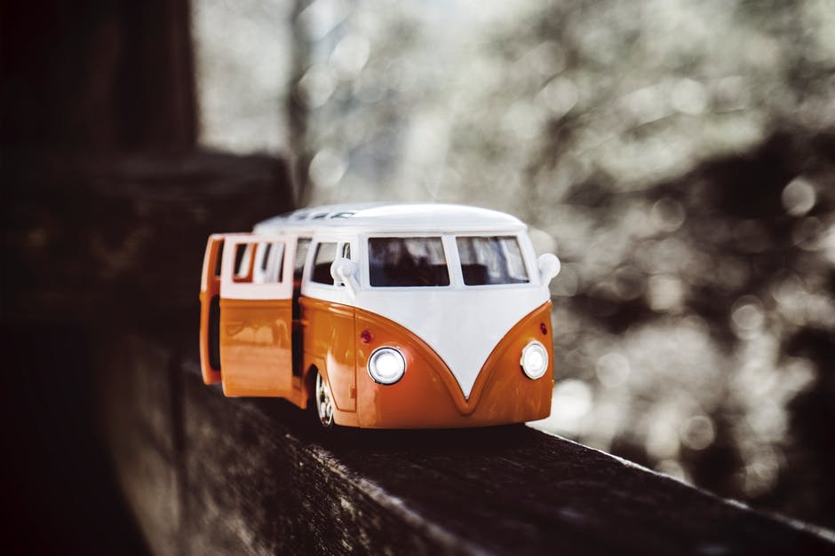 White Orange Van Scale Model