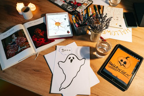 Halloween Drawings on a Table