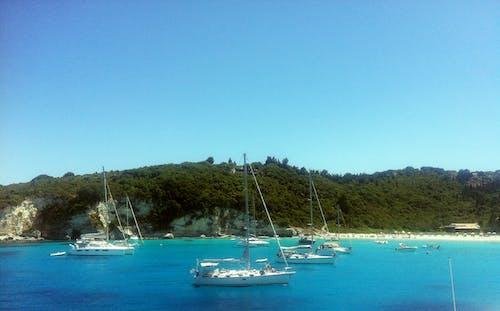 Kostenloses Stock Foto zu blaue schwimmkrabben, blaues meer, boote, griechenland