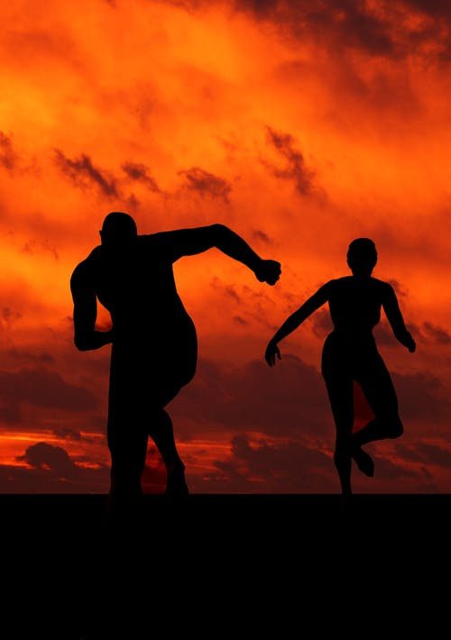 Man and Woman Running Silhouette