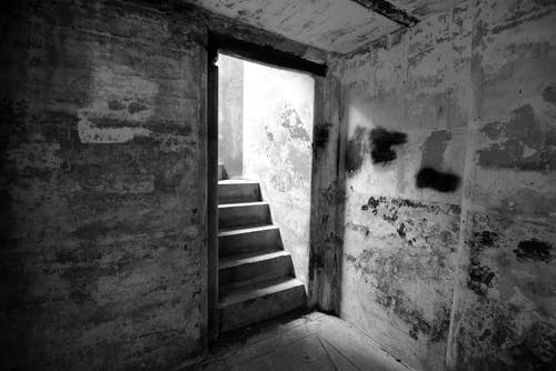 Free stock photo of black and white, fort, military, stairs