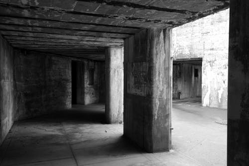 Free stock photo of black and white, fort, military, underground