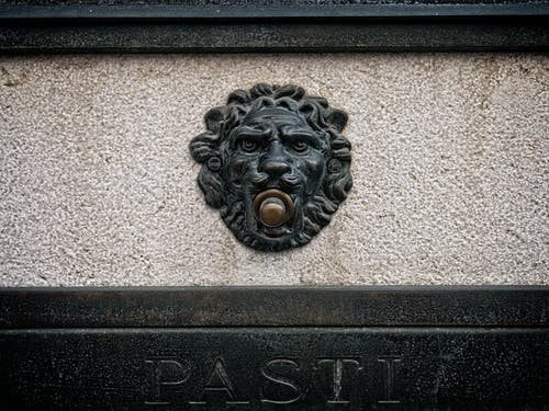 Free stock photo of door bell, lion