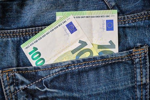 20 Euro Bill on Blue Denim Textile