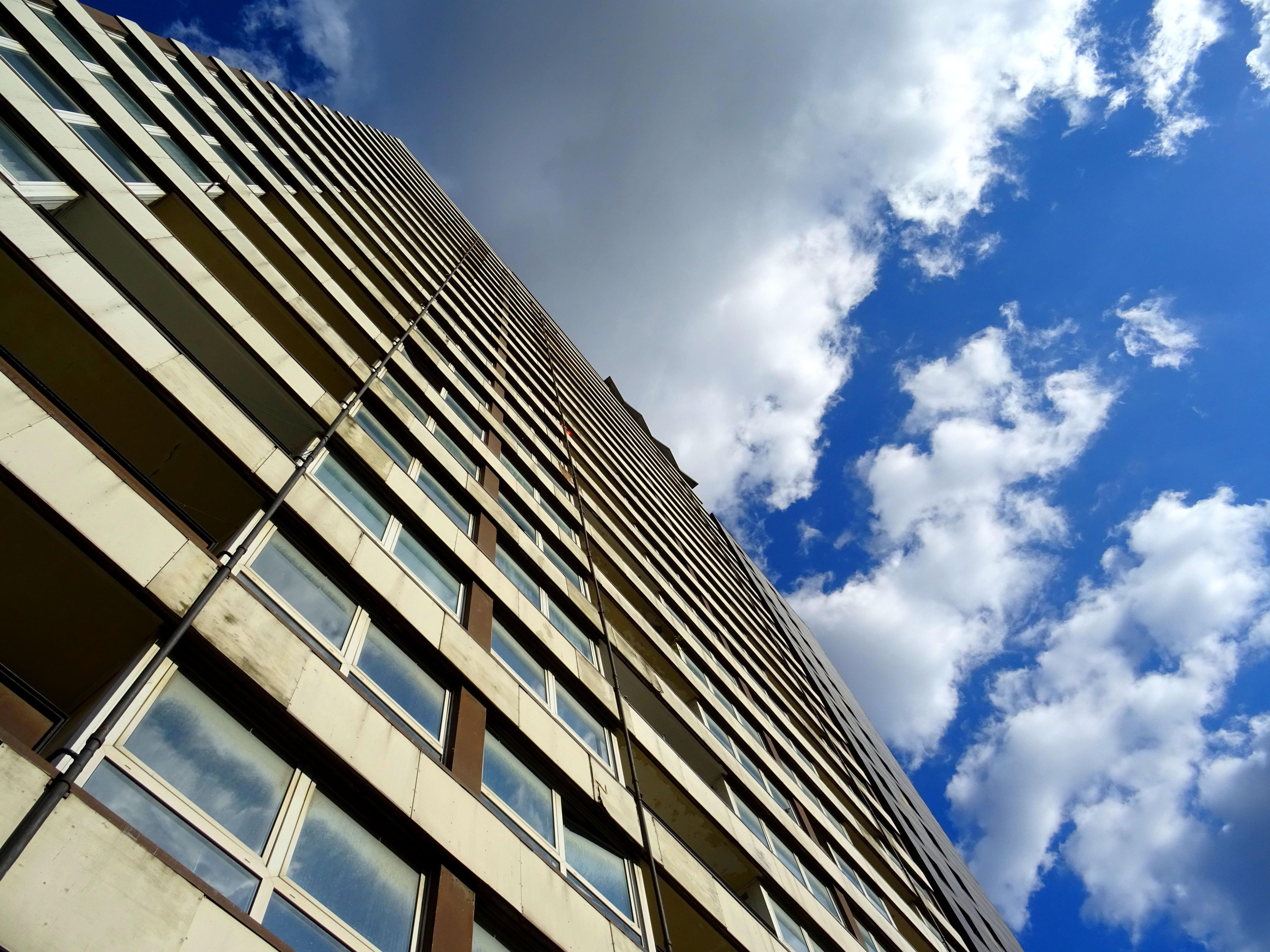 Worm's Eye View of Brown Concrete Building