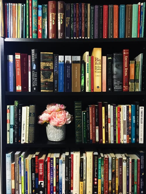Books on Black Wooden Shelf