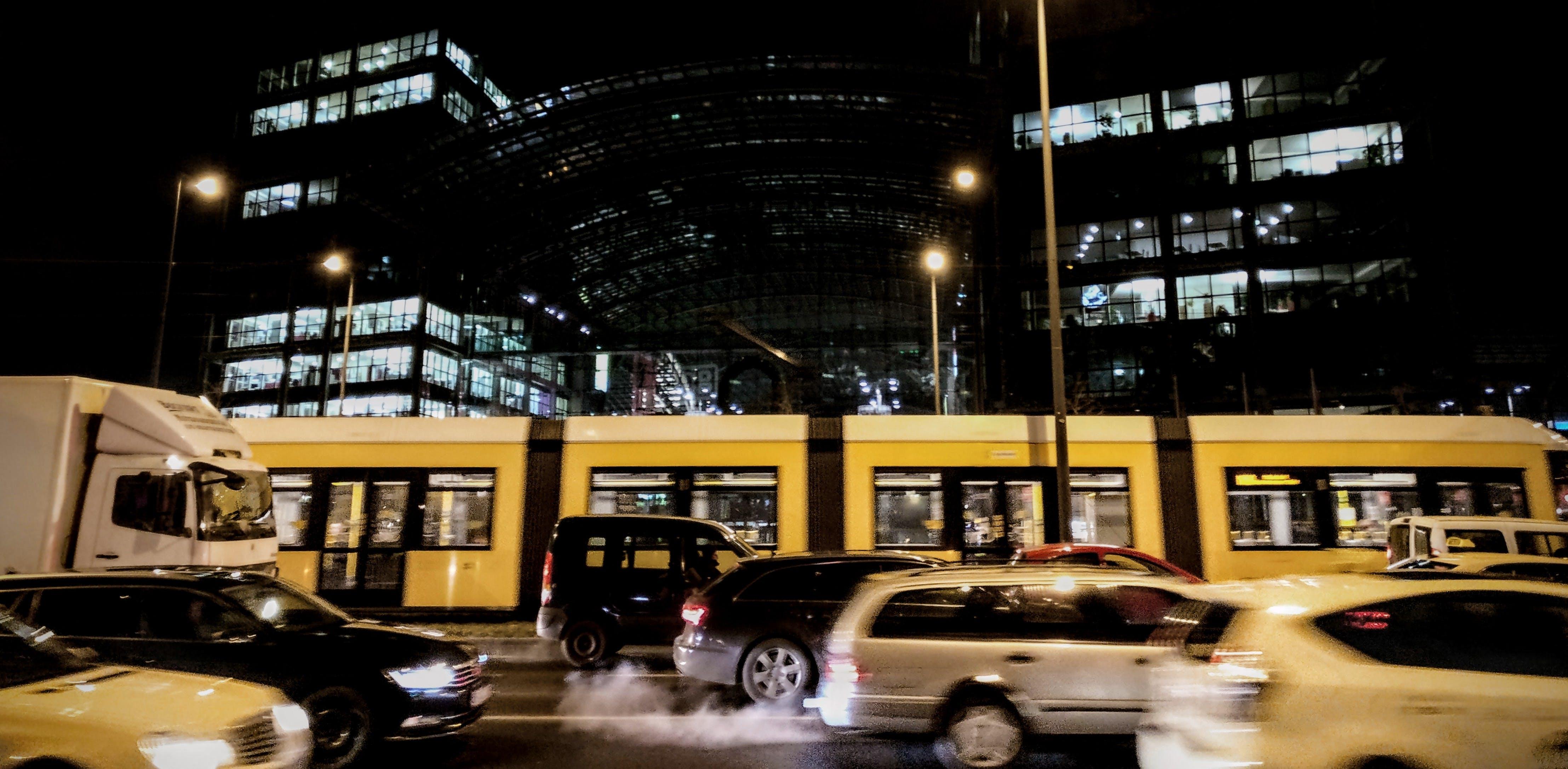 architecture, blur, bus