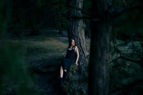 Calm woman sitting near tree trunk