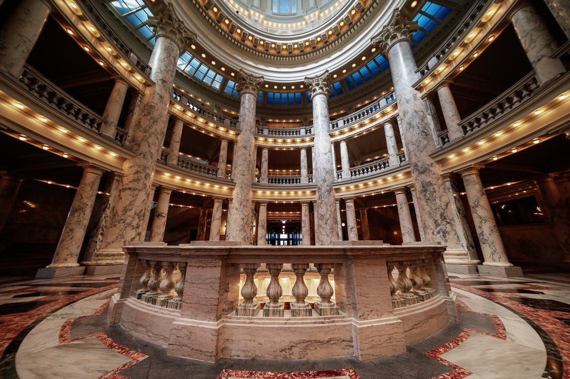 Amazing interior of old building with columns