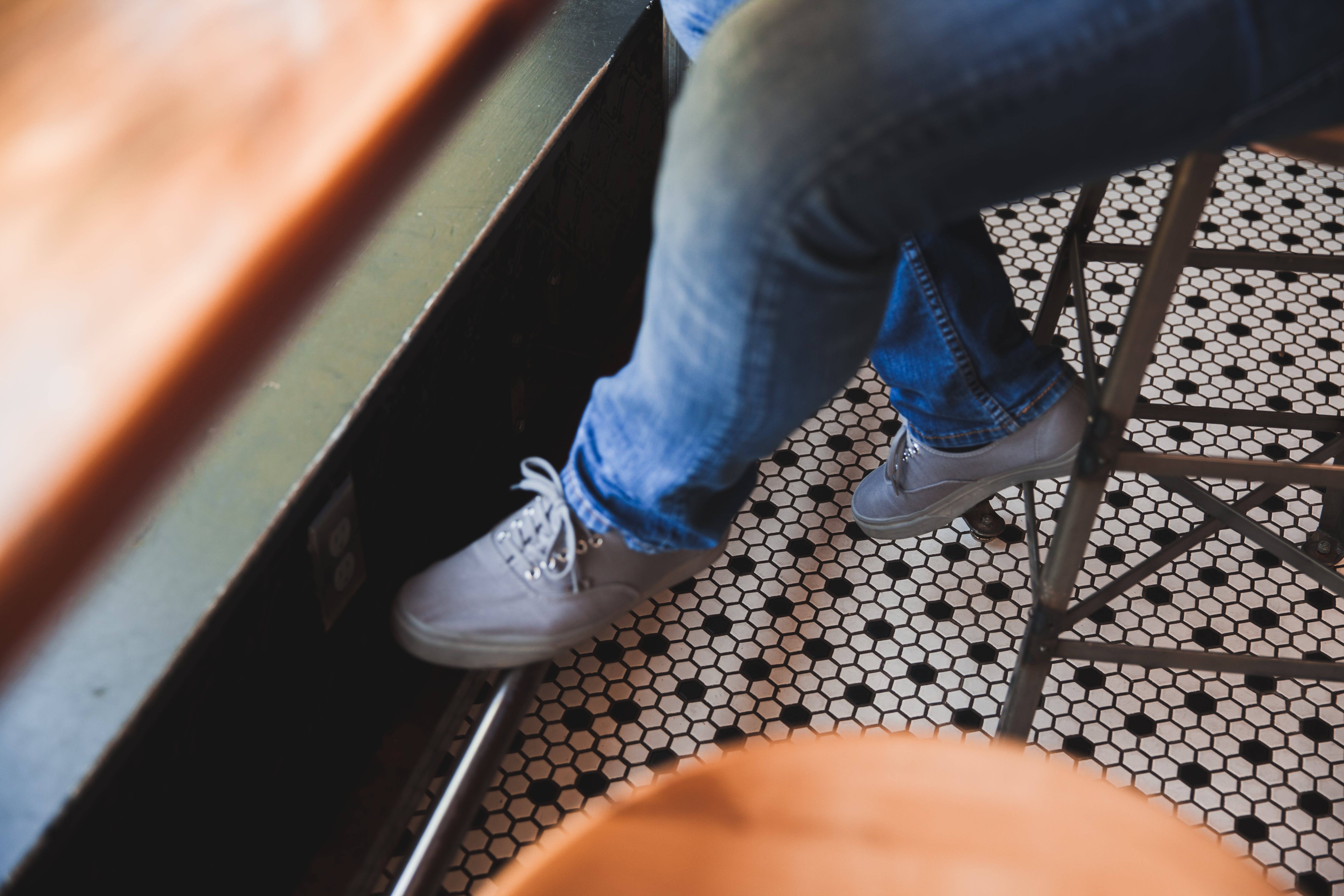 Free stock photo of coffee shop, foot rest, shoes, sitting