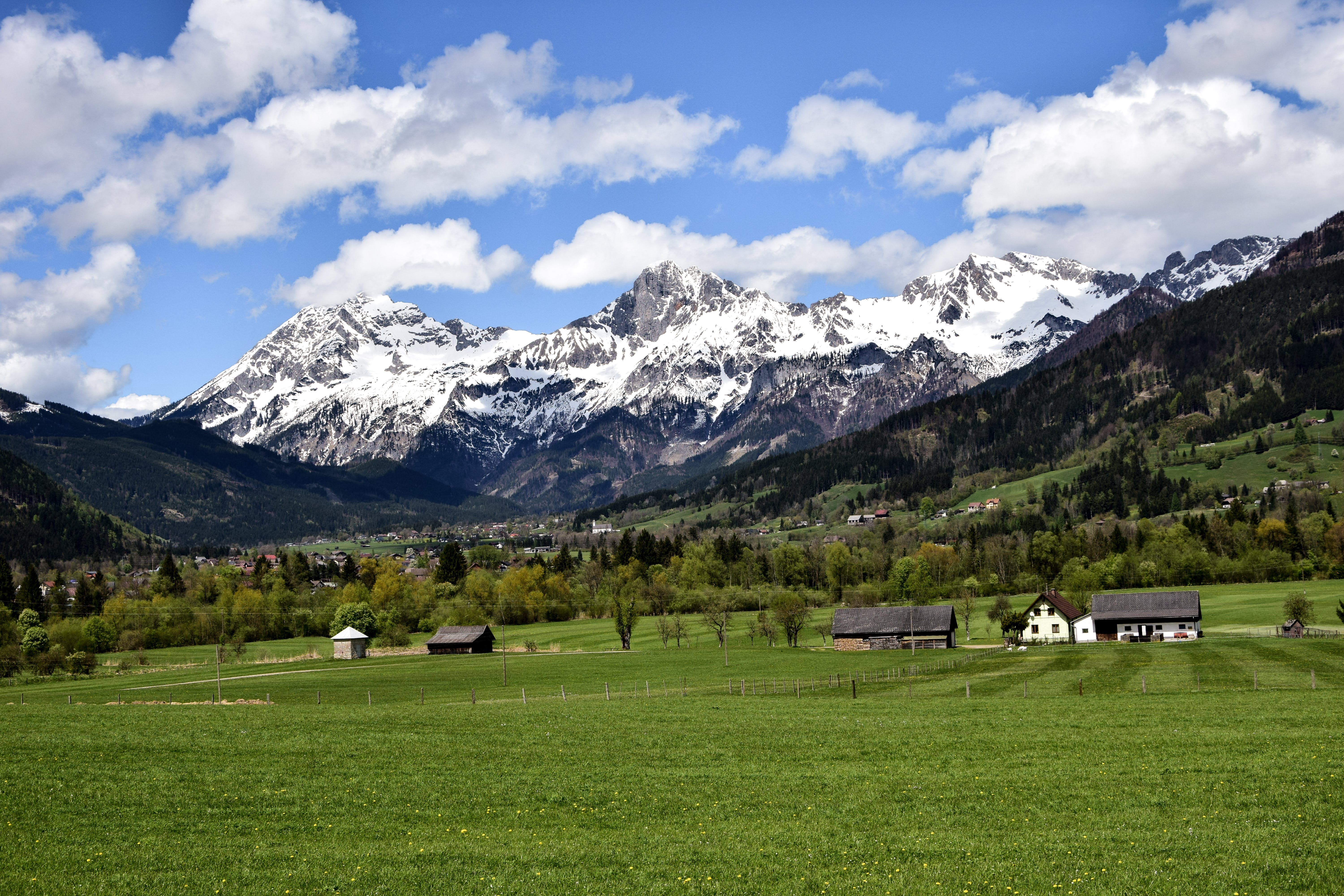 Landscape Photography of Green Grass Field Near Snow Capped Mountains
