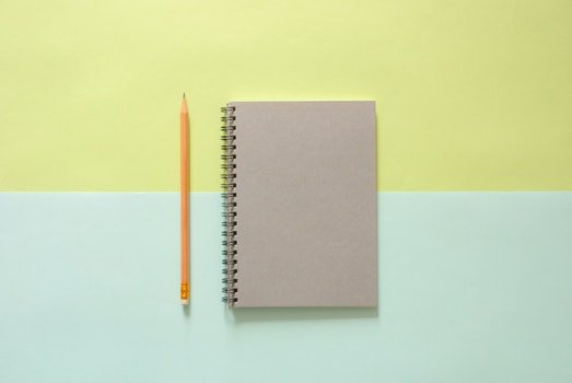 Free stock photo of notebook, pencil, background, top view