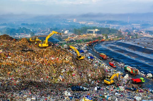 Aerial Footage of Landfill on Shore