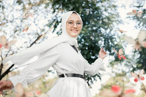 Woman in White Hijab Smiling