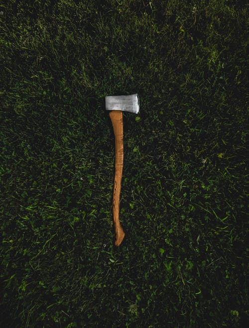 Brown and Silver Axe on Grass