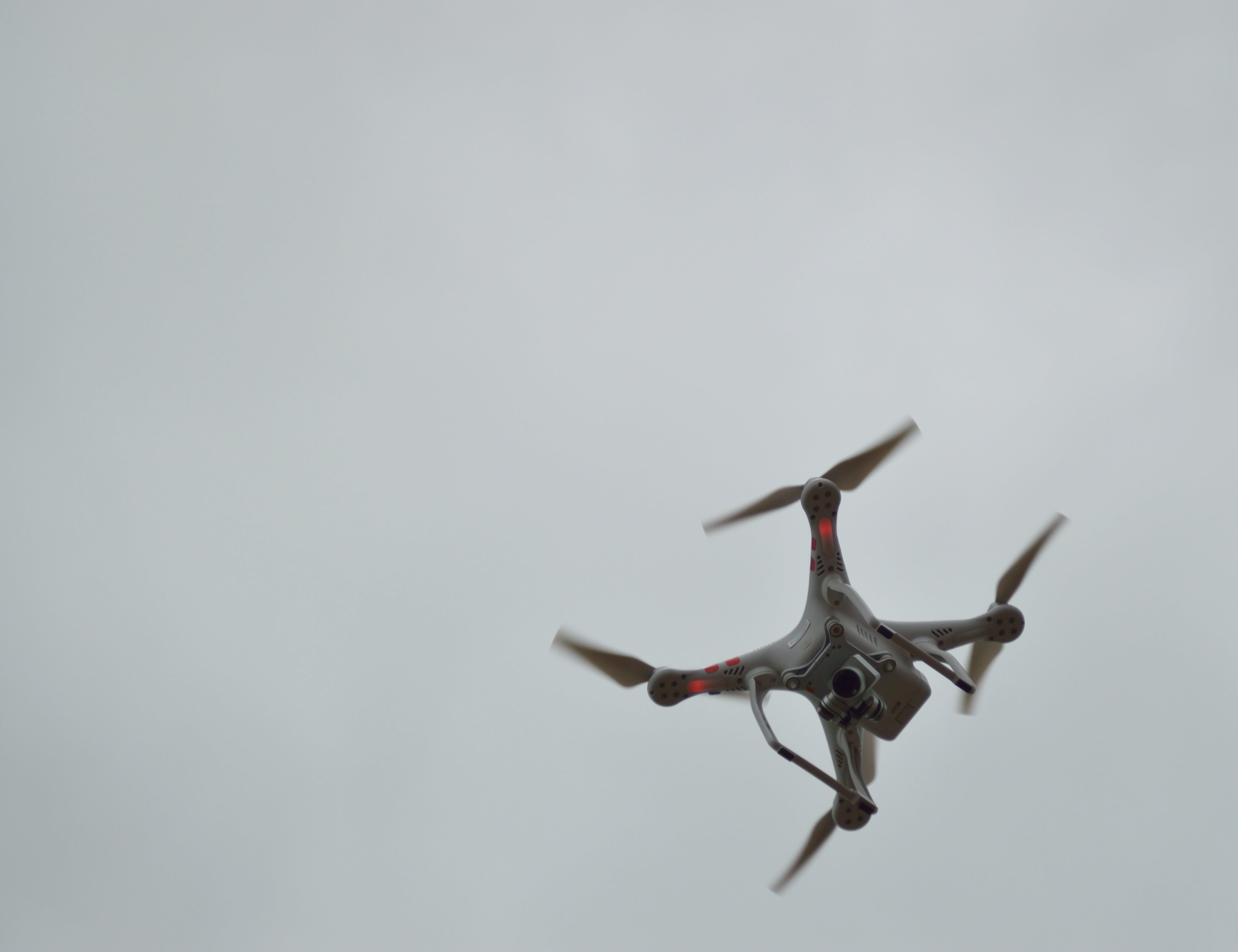 Gray Quadcopter on Flight