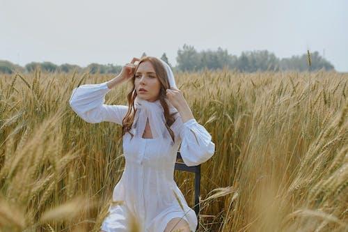Stilvolle Frau, Die Auf Stuhl Auf Landwirtschaftlichem Feld Sitzt