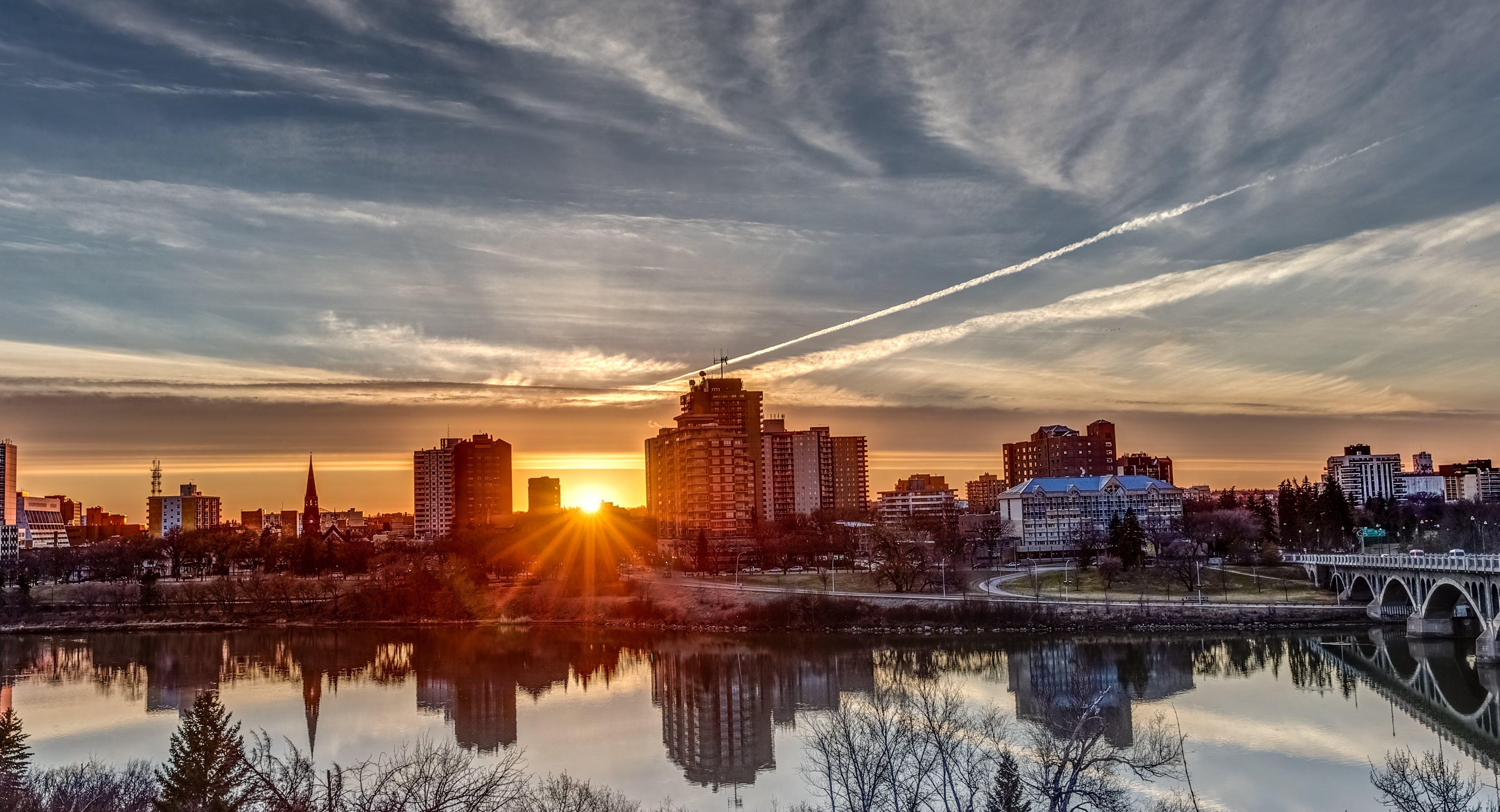 buildings, city, dawn
