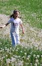 person, field, flowers