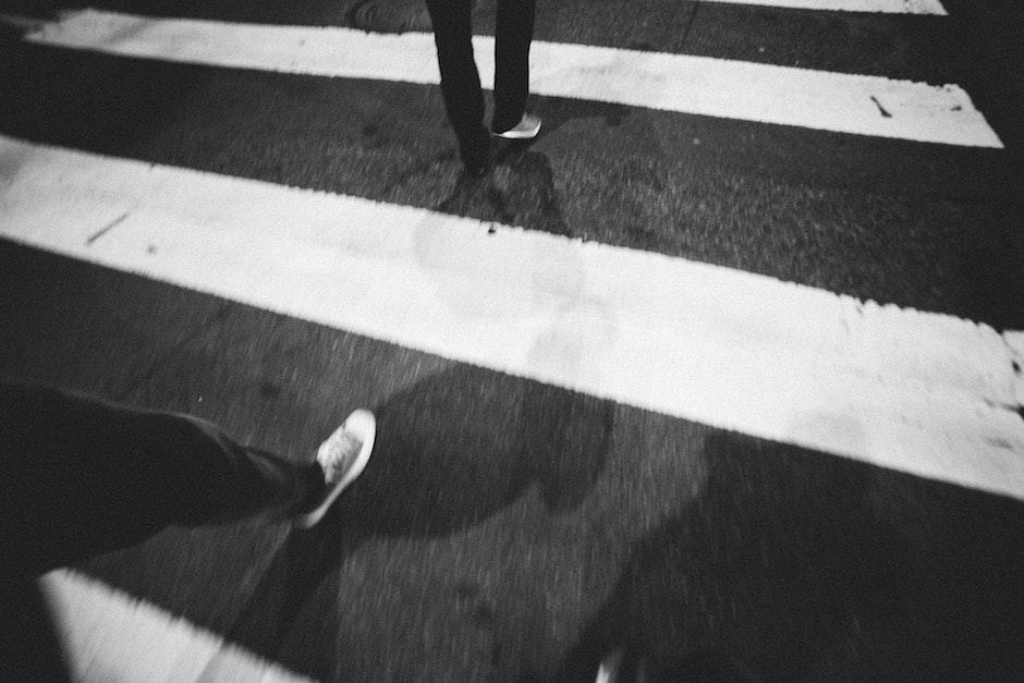 black-and-white, street, walking