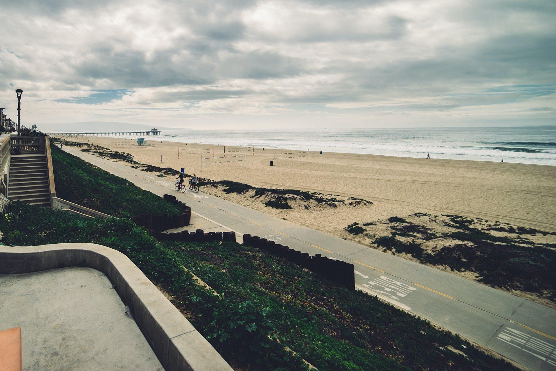 구름, 해변, 흐린