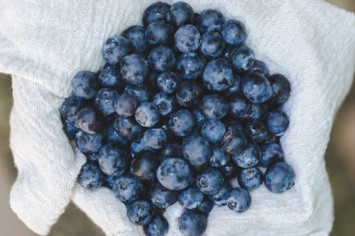 Bunch of Blueberries on White Textile