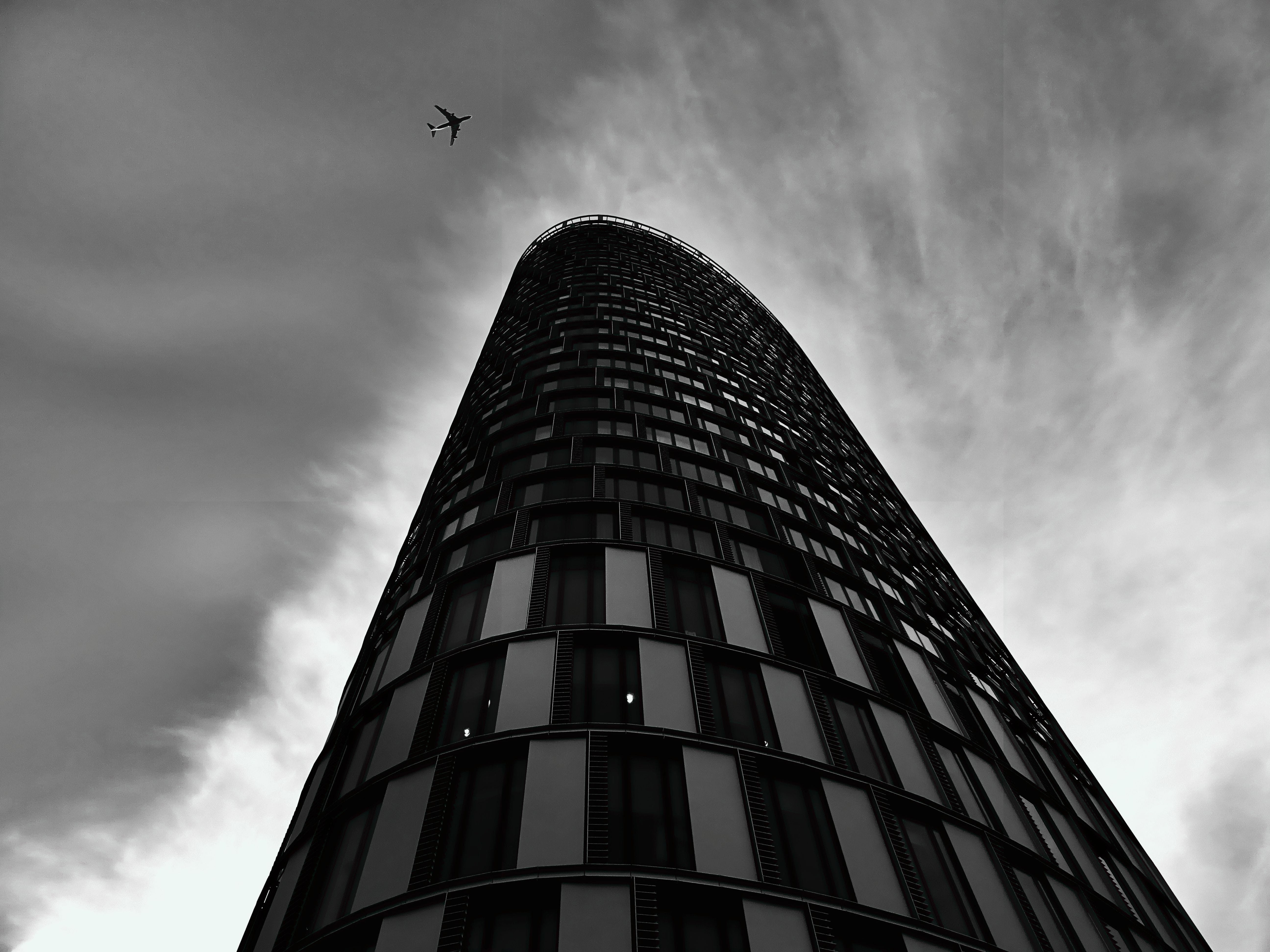 airplane, architecture, black-and-white