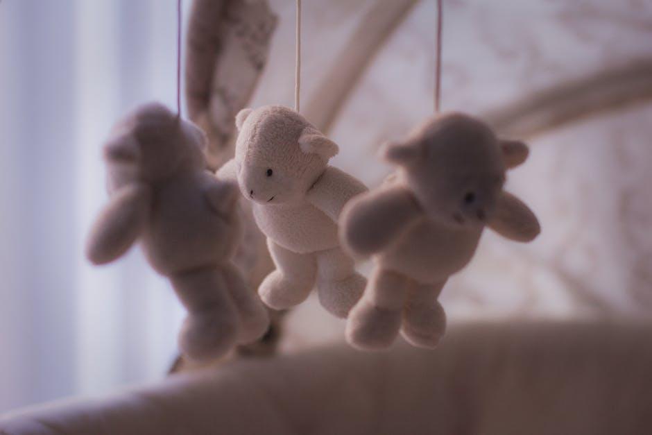 White Bear Plush Toy on Baby Mobile