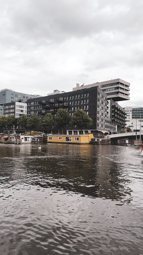 Free stock photo of amsterdam, anchored boats, architecture