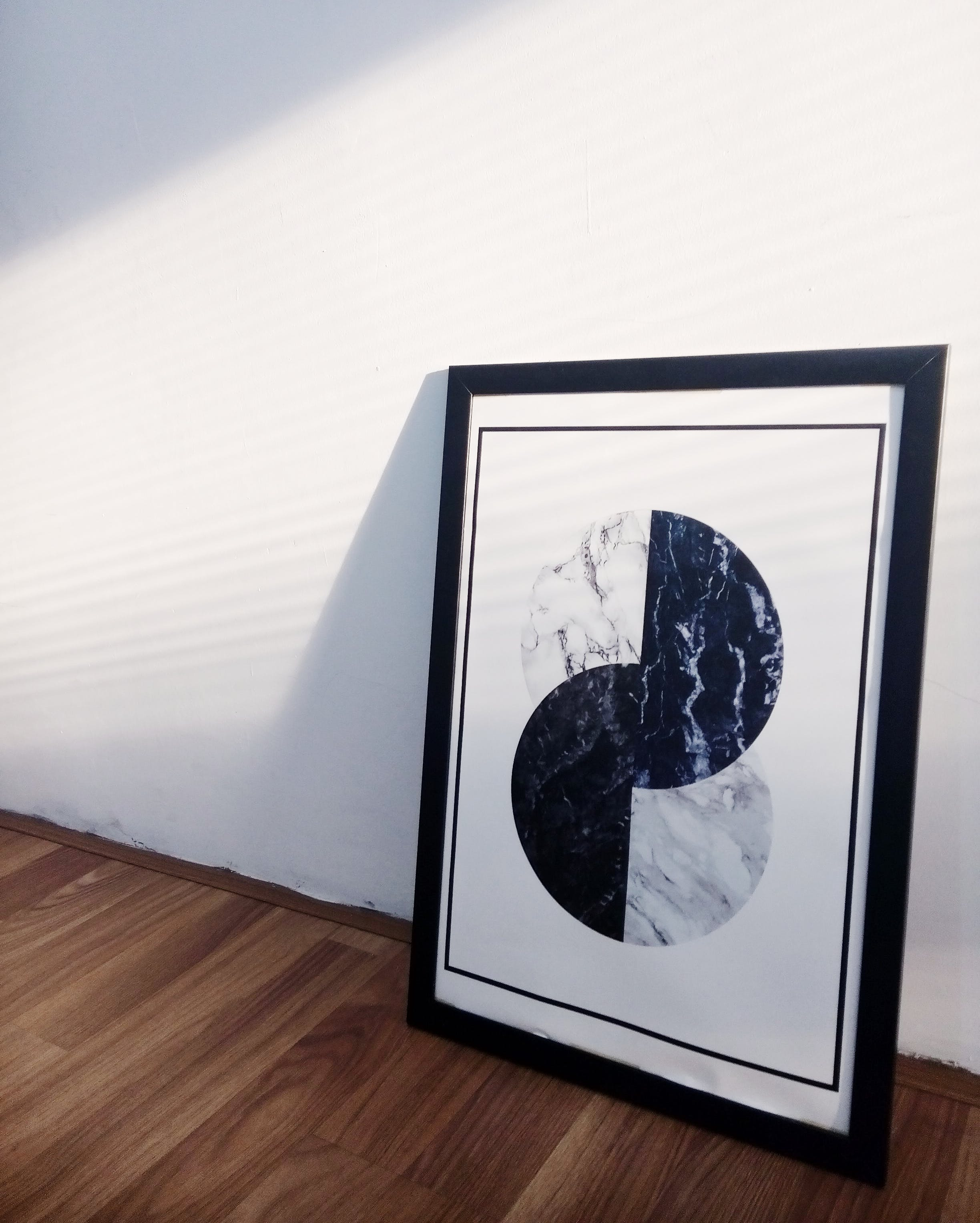 Black and White Abstract Painting on Wall