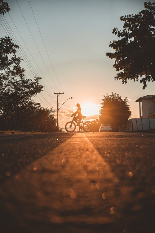 Man Riding Bicycle on Road during Sunset