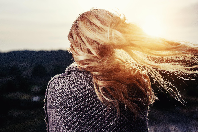 blond, dame, gyllen