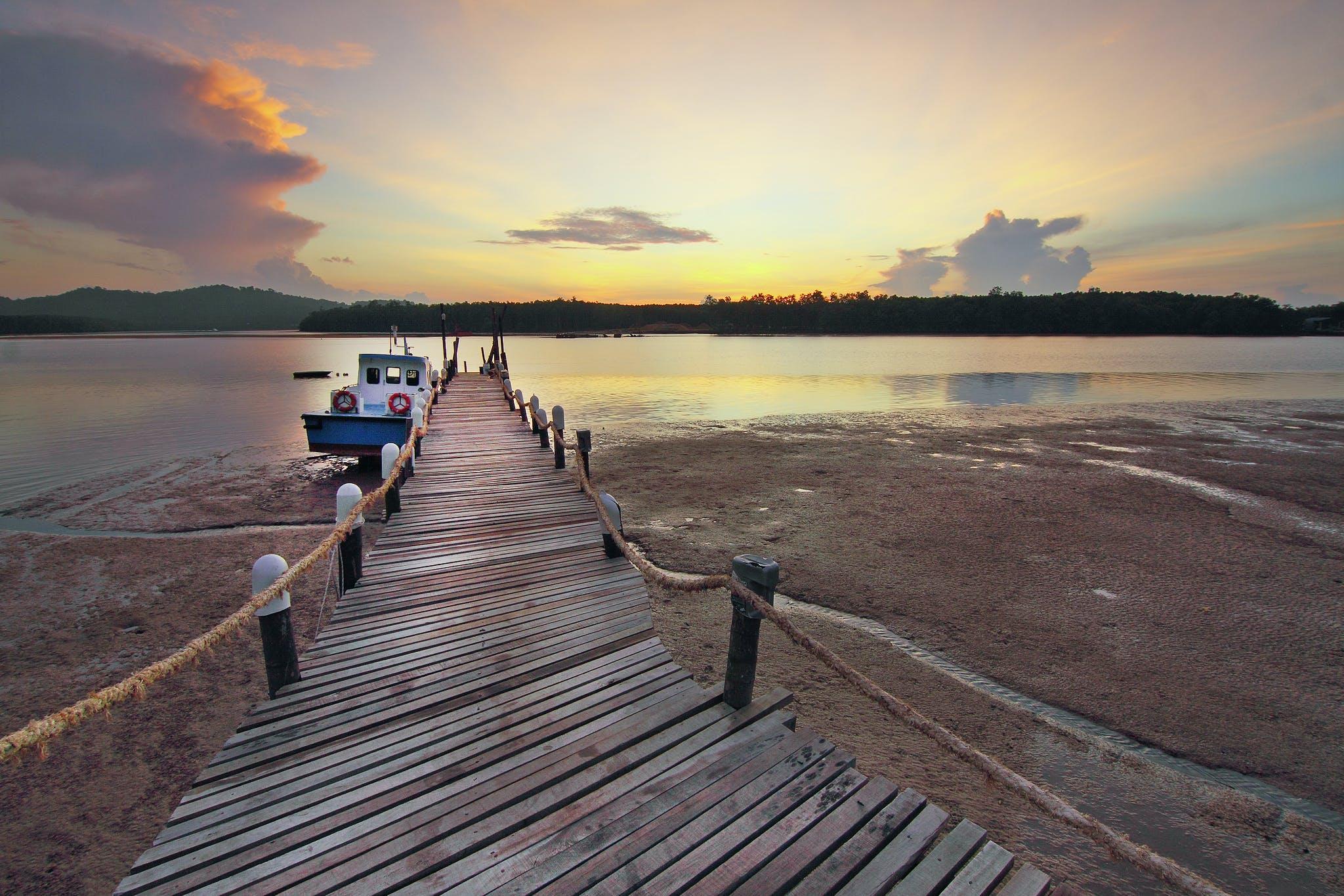 boat, clouds, dock