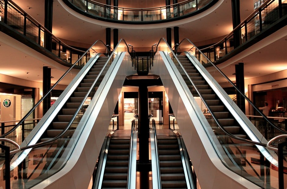 building, commercial building, escalators