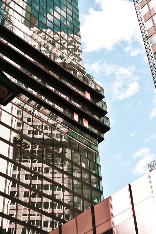 Modern high tower with mirrored facade