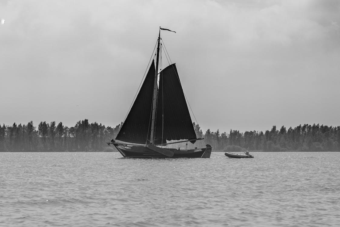 Free stock photo of black, boat, sail