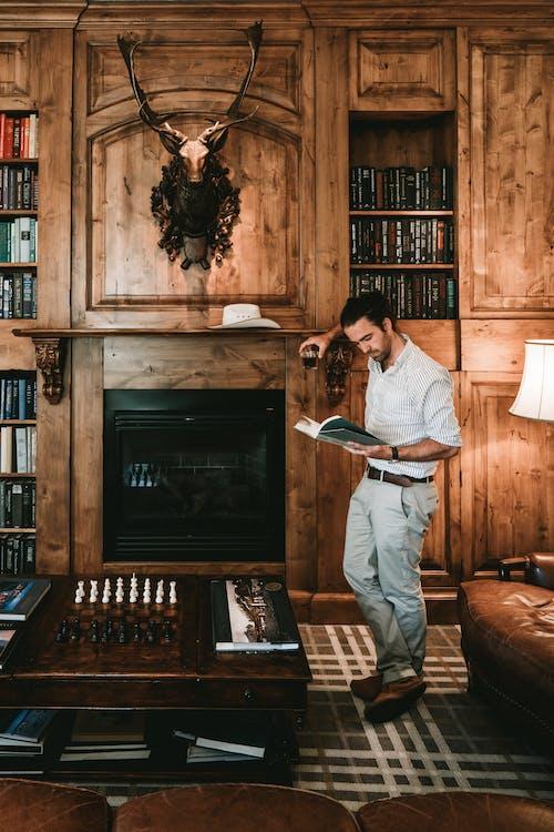Gratis lagerfoto af bibliotek, bogreol, boligindretning, bord