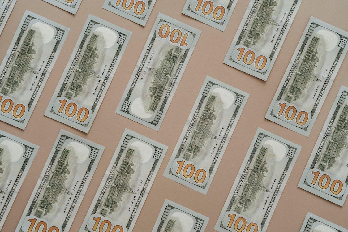Flat Lay Of Dollar Bills