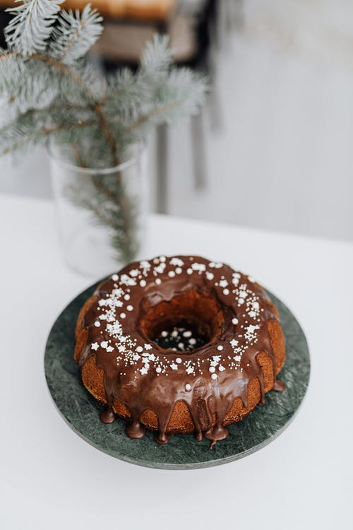 A Chocolate Ring Cake on a Table