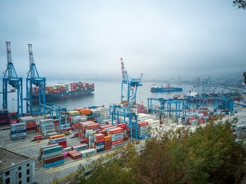 An Aerial Shot of a Cargo Shipping Port