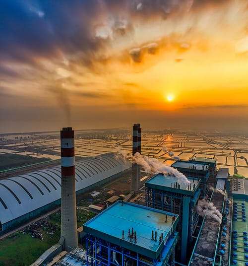 Aerial View of A Sugar Factory At Sunset