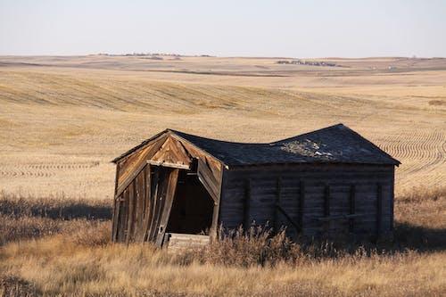 Old Barn on Brown Grassland