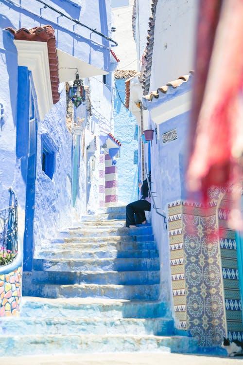 Escalier Dans La Ville Bleue De Chefchaouen