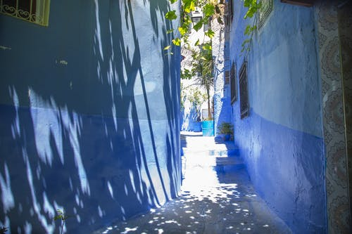 Narrow pathway between blue buildings