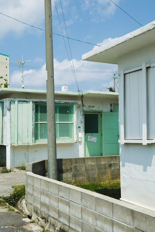 Exterior of suburban buildings on street