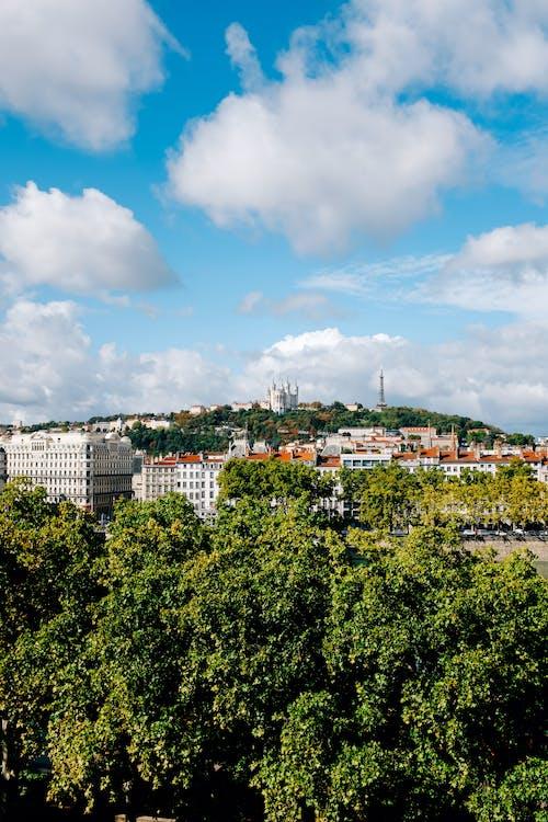 Scenic view of densely built town buildings on verdant green terrain under blue sky