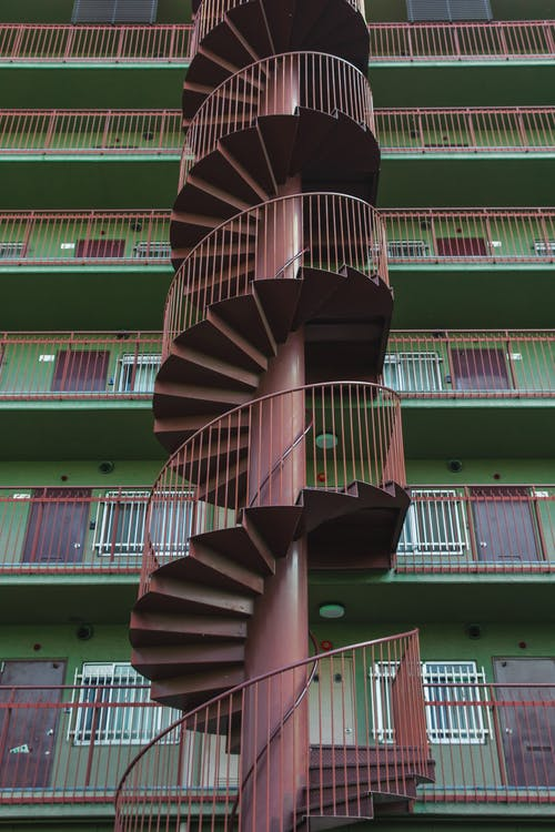 Spiral staircase near residential house