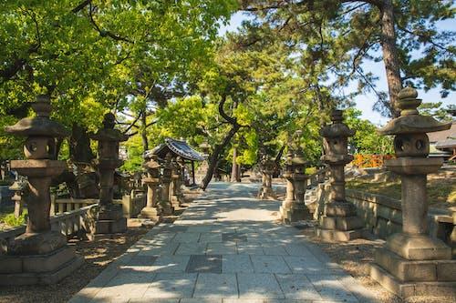 位于公园的传统亚洲石灯笼在晴天
