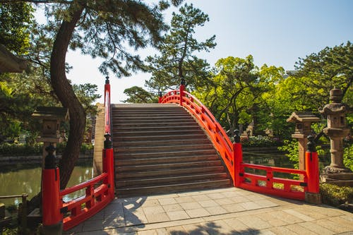 Pathway in front of ancient oriental footbridge in Japan park