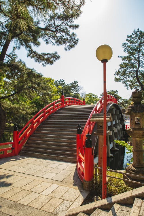 Old stone bridge with red railing located in oriental park